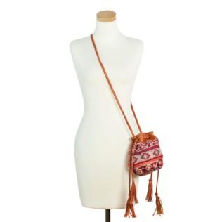 Mała torebka-sakiewka z frędzlami