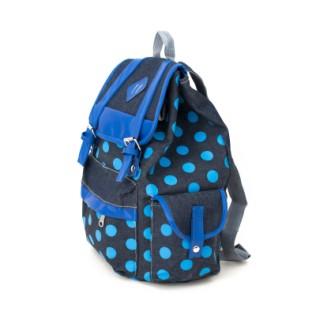 Niebieski plecak w kropy